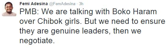 Nigeria in negotiations with Boko Haram over Chibok Girls.