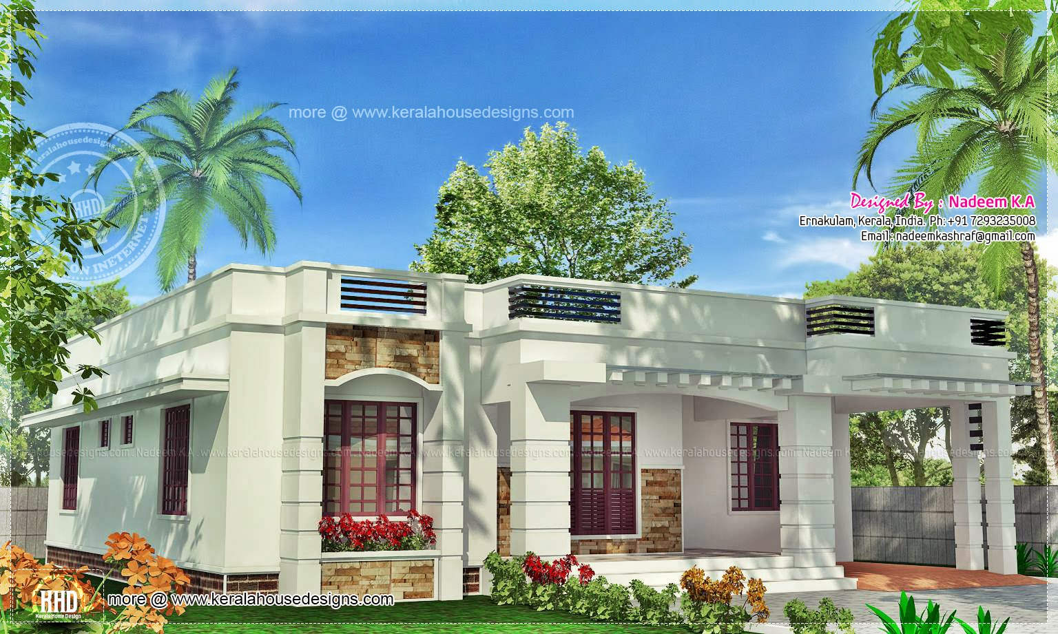 One floor kerala style home in 141 square meter kerala for Kerala style single storey house plans