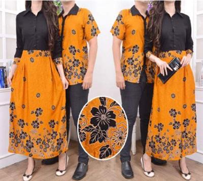 Jual Online Batik Couple Murah Jakarta Warna Orange Bahan Rayon Terbaru