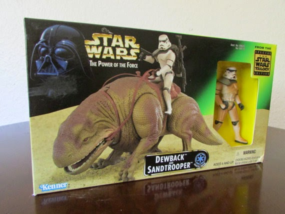 Dewback and Sandtrooper - Star Wars Power of the Force - Green Box - Action Figure w/Creature Plays