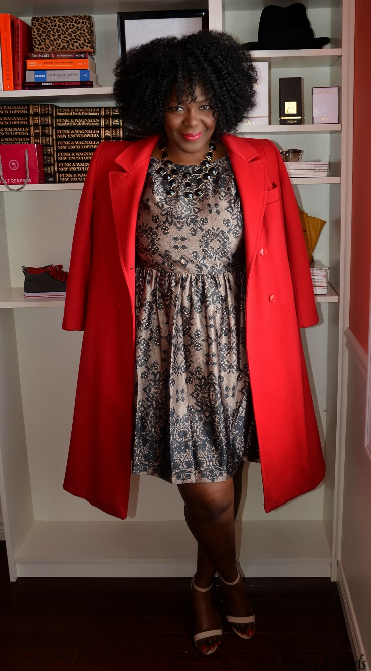 plus size cocktail dresses -red coat holiday office party dress