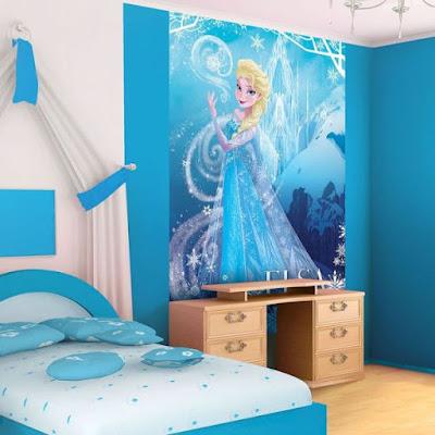Motif Wallpaper Dinding Kamar Tidur Anak Frozen