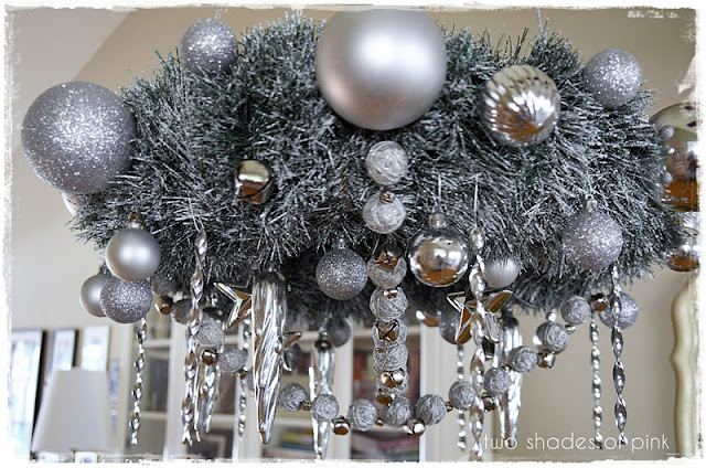 Hanging wreath chandelier ball garland featuring jessica for Hanging ornaments from chandelier