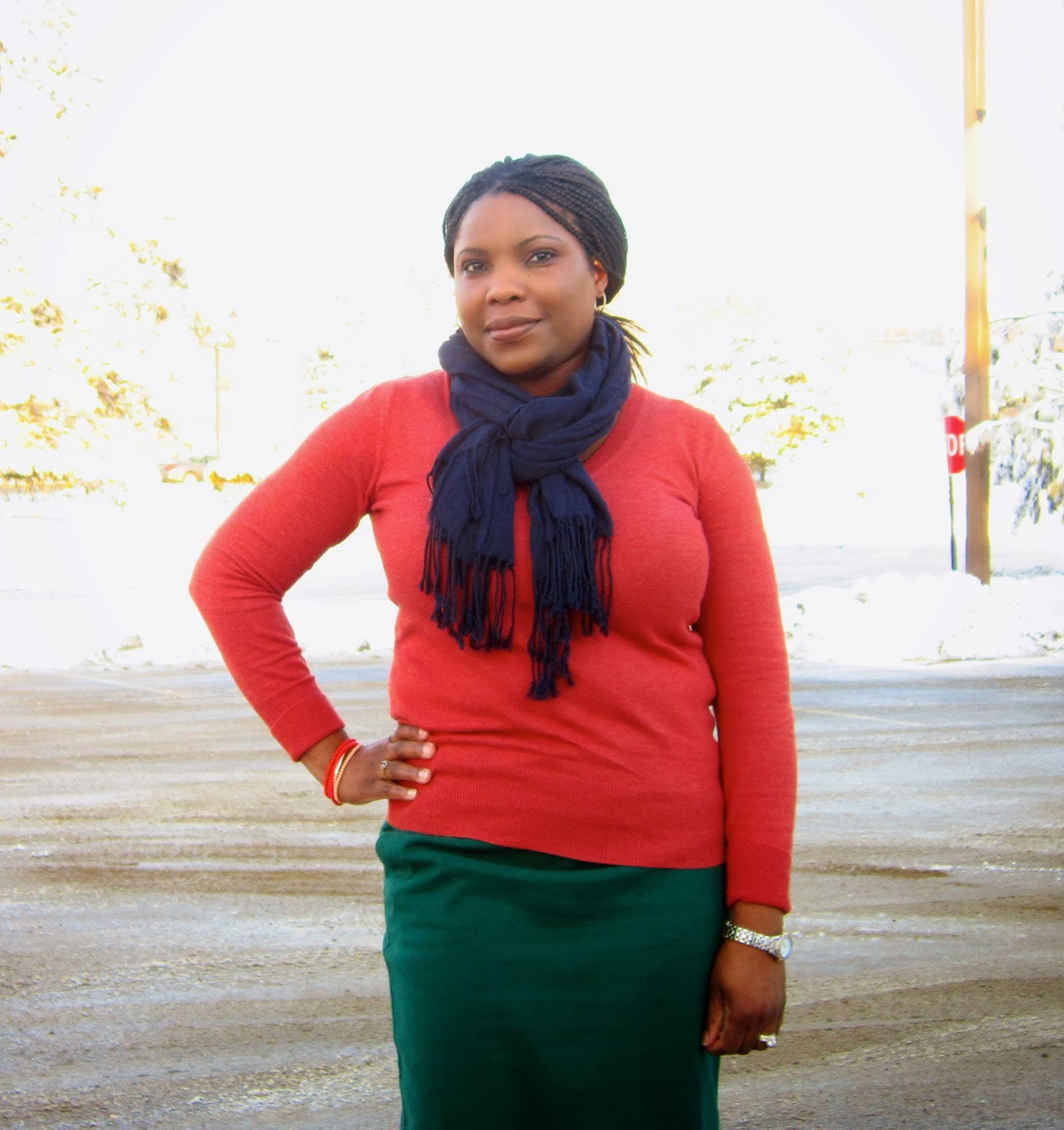 Rust Sweater, Navy Blue Scarf, Green Skirt