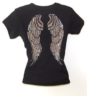 Angel Wing Rhinestone Black Womens T Shirts Top