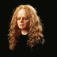 A photo of the reconstructed face of Yde Girl, a 16-year-old redhead whose body was preserved in a bog 2,000 years.