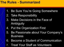 Seven Unbreakable Rules of Software Leadership
