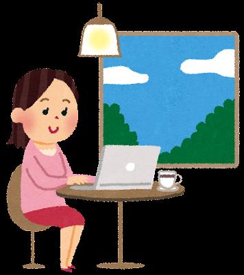 カフェで仕事・勉強をしている女性のイラスト