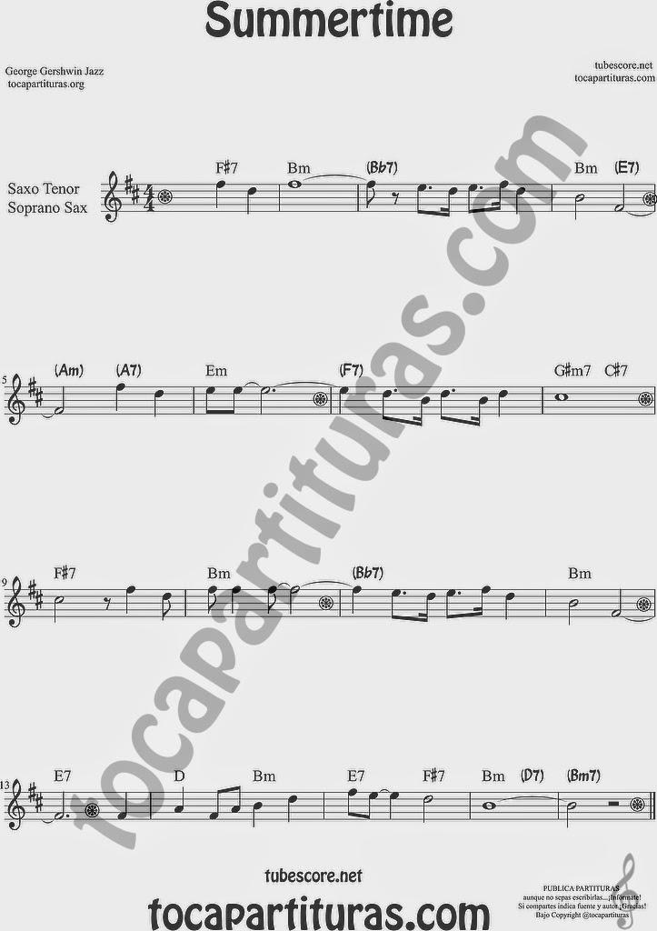Summertime de Partitura de Saxofón Soprano y Saxo Tenor Sheet Music for Soprano Sax and Tenor Saxophone Music Scores