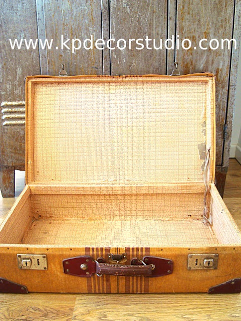 maletas antiguas restauradas, restaurar maleta antigua, empapelado vintage a cuadros, maleta de tela