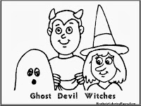 Ghost Devil And Witches On Halloween Kids Coloring Pages