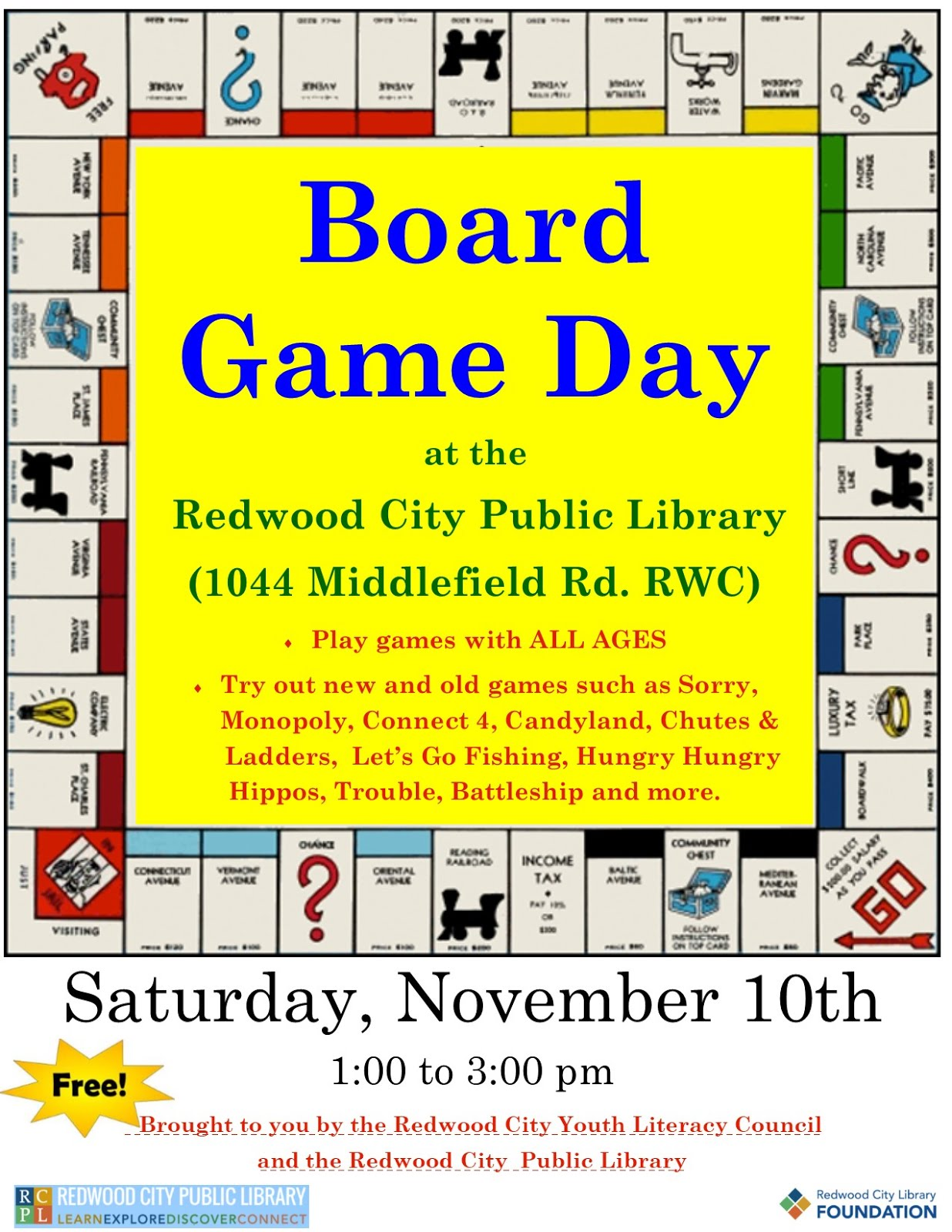 Free Family Board Game Day at the Library this Saturday