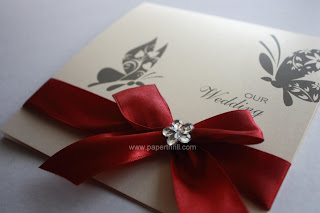 Handmade butterfly wedding card
