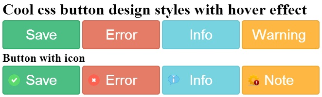 Cool css3 button design styles with hover effect