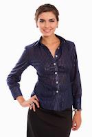 Camasa bleumarin cu dungi argintii din bumbac SR03SM (Ama Fashion)