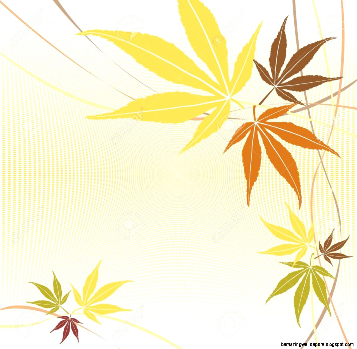 Autumn Or Fall Maple Leaves Vector Background Royalty Free