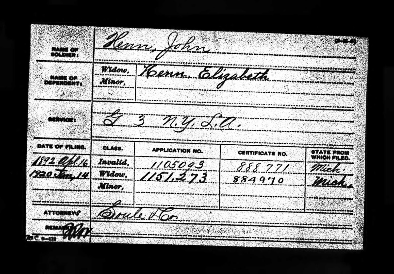Climbing My Family Tree: John Henn, Civil War Pension Index card