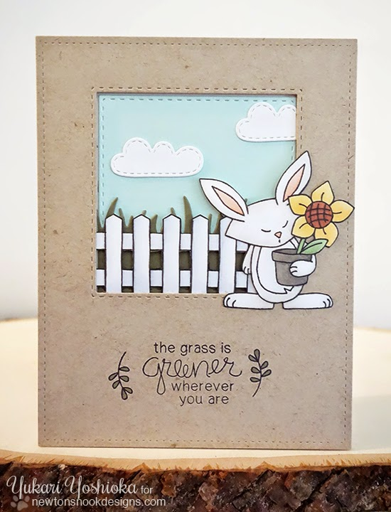 Grass is Greener Bunny Card by Yukari Yoshioka | Garden Whimsy | Garden Stamp Set by Newton's Nook Designs