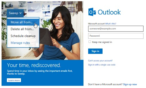 Microsoft Outlook Live login screen