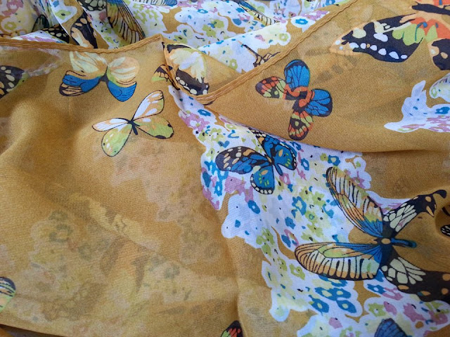 shawl chiffon printed butterfly light brown