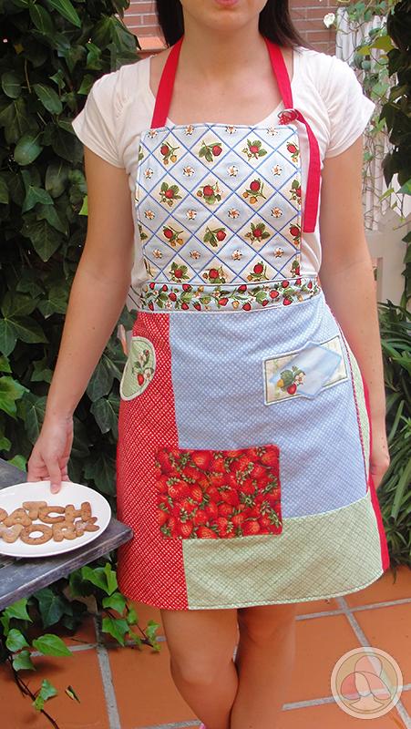 Delantal de cocina de patchwork con tela de mermelada y fresas