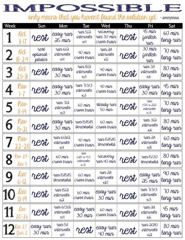 My 12-week Winter Training Calendar