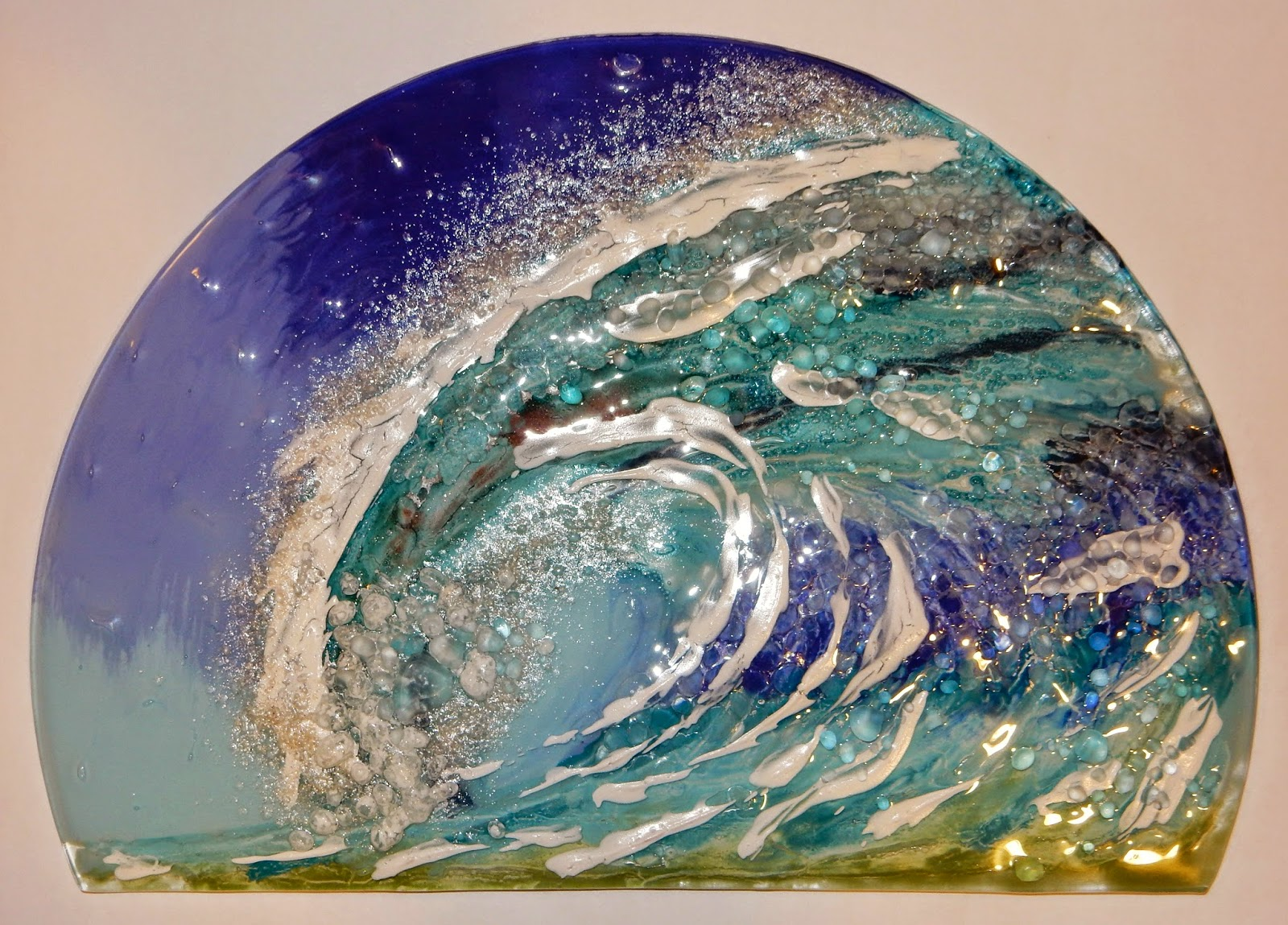 The Wave - fused glass with Unique Glass Colors
