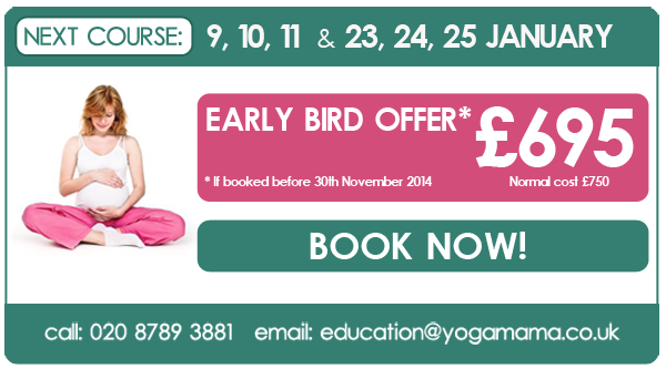 January 2015 Pregnancy Yoga Teacher Training with Yoga Mama. Early bird offer: £695, if booked before 30 November 2014. Email education@yogamama.co.uk for an application form.