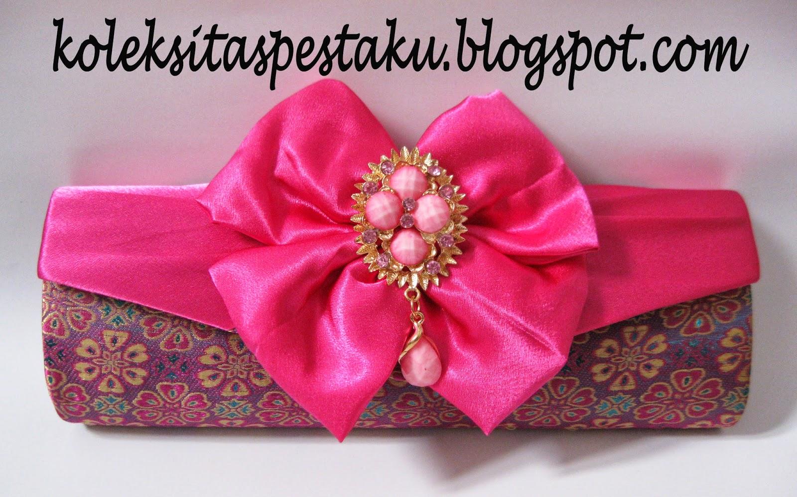 Dompet - Tas Handmade Model Tebrau Tenun Sari India Pink Fanta