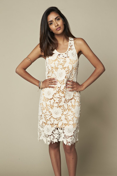 Peach and ivory lace dress at Fitzroy Boutique