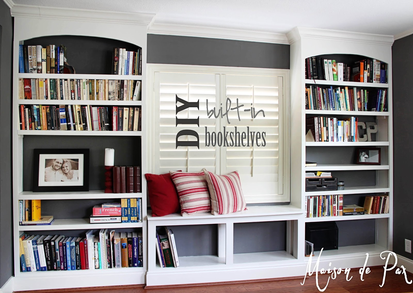Diy built in bookshelves maison de pax Bookshelves in bedroom ideas