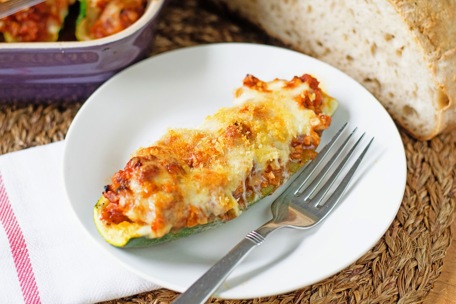 Chicken Parmesan Stuffed Zucchini
