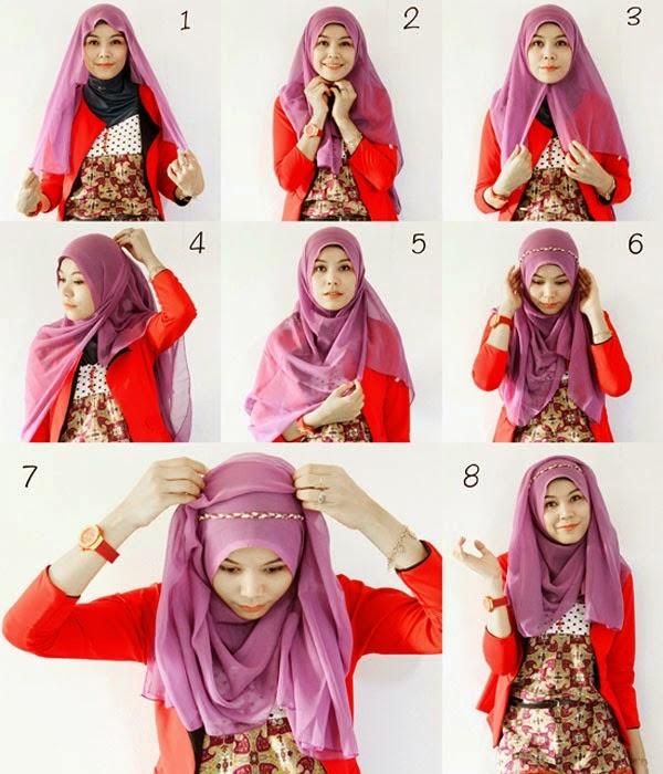 Tutorial hijab segi empat simpel favorit remaja
