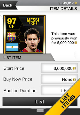 FUT 13 iOS App - List Items - FIFA 13 Ultimate Team