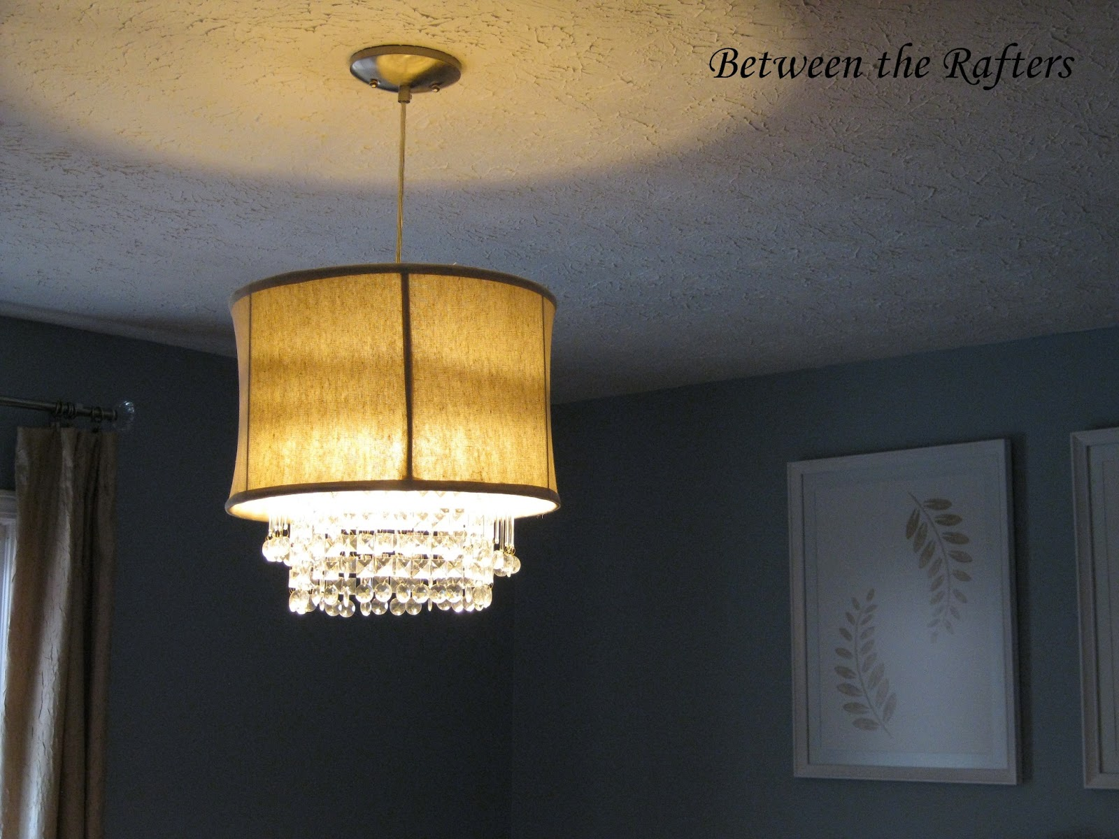 Between the Rafters DIY Drum Shade With Crystals Tutorial