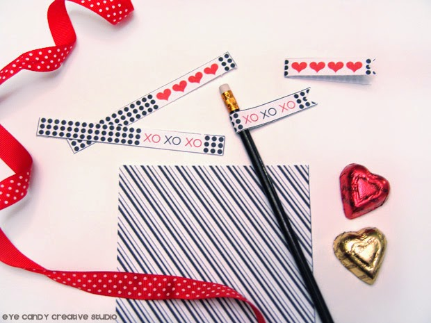 black and white stripe paper, XOXO flags, red heart flags, free printables