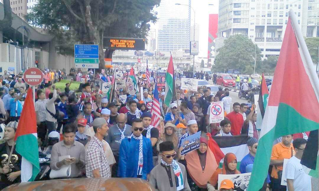 ONLY MALAYSIA N PALESTINE FLAGS SEEN AT DEMO ANTI ZIONIST -TRUMP- AMERICA !