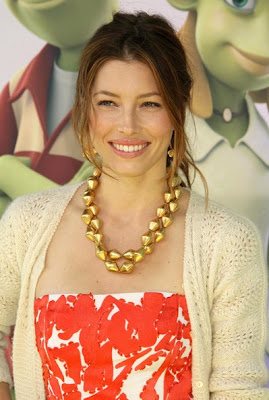 Jessica Biel Gold Statement Necklace