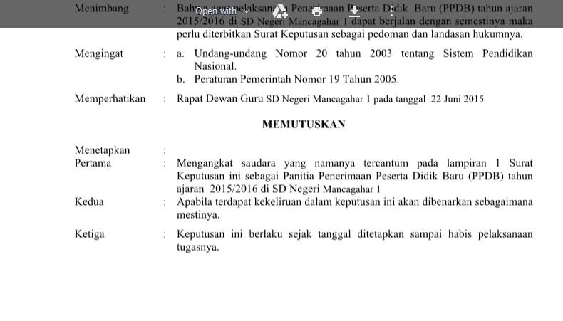 Contoh Format SK Penerimaan Peserta Didik Baru (PPDB) atau PSB