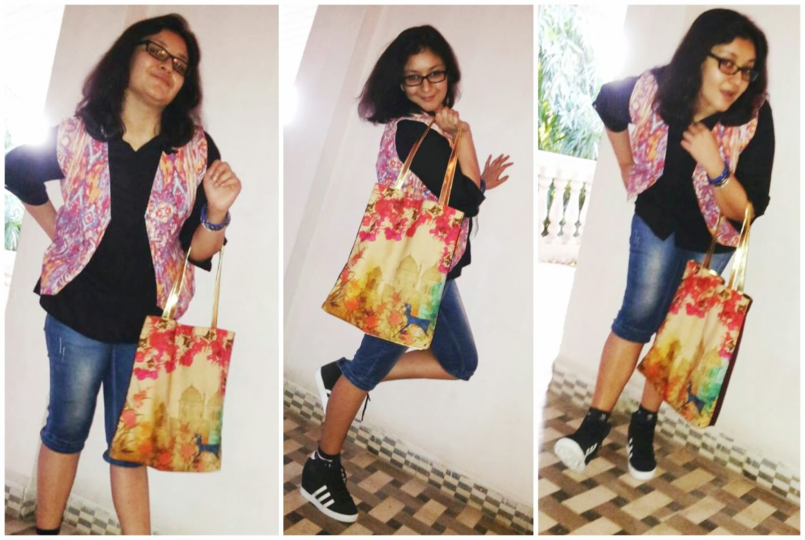 College look, how to style black to, College fashion, adidas sneakers, colorful tote bag, capris, india circus