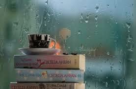 novels, coffee and rainy day