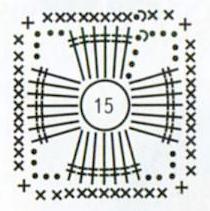 Ажурные квадратные серьги крючком, схема вязания