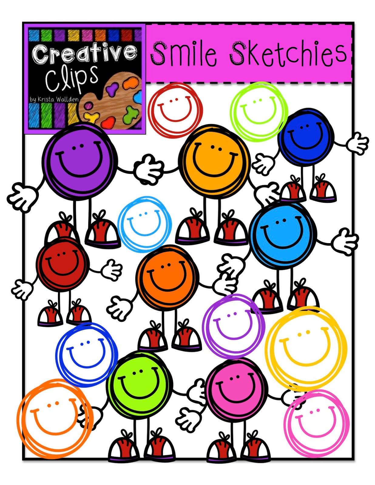 Free Smile Sketchies Clipart set with $12.00 purchase- today, Friday and  Saturday!!!