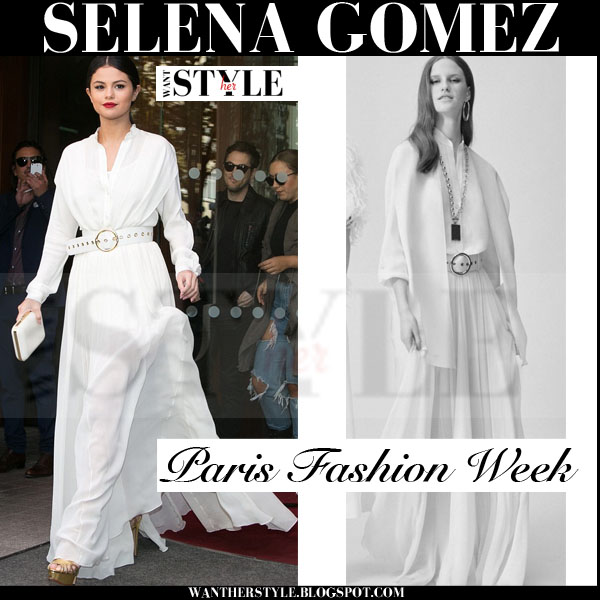 Selena Gomez in white belted maxi Elie Saab resort 2016 dress what she wore paris fashion week