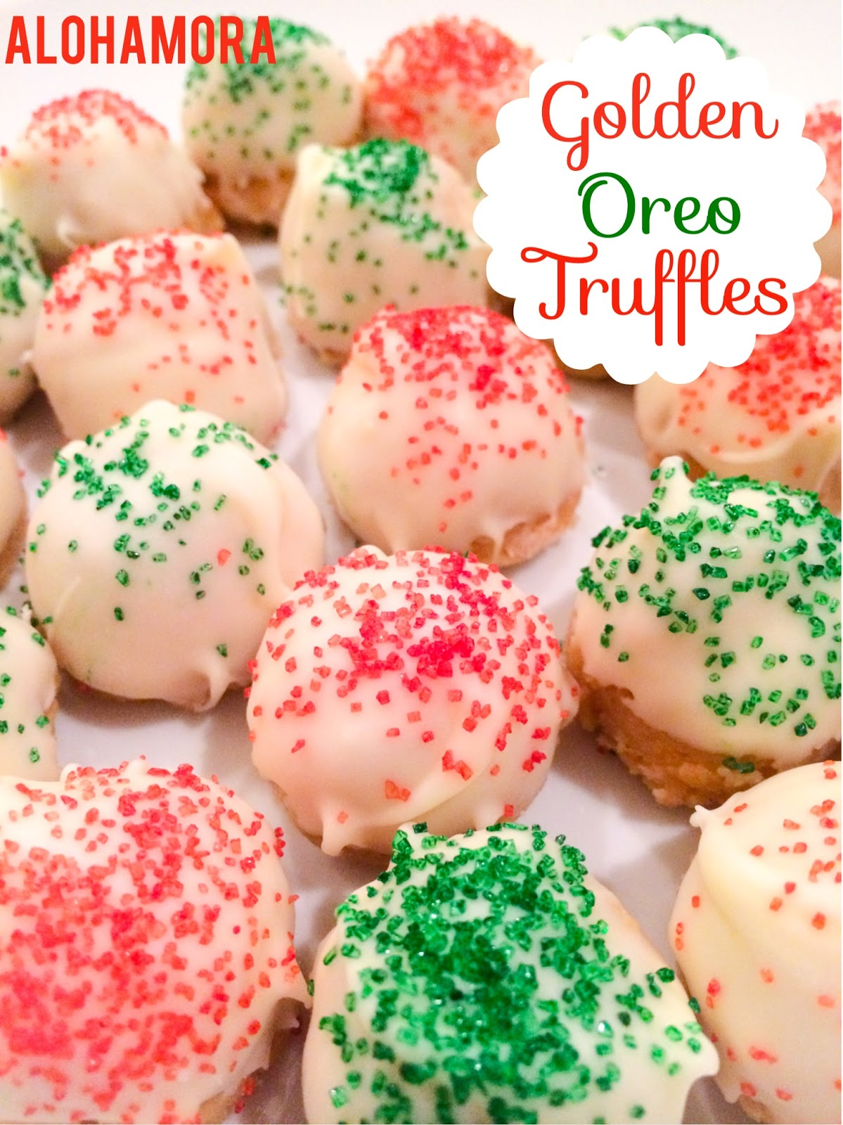 Golden Orea Truffles- Easy to make, absolutely delicious, and a fun festive Holiday treat.  No bake treats that will impress everyone.  Alohamora Open a Book http://alohamoraopenabook.blogspot.com/