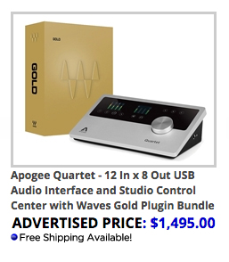 Apogee Quartet and Waves Gold Bundle