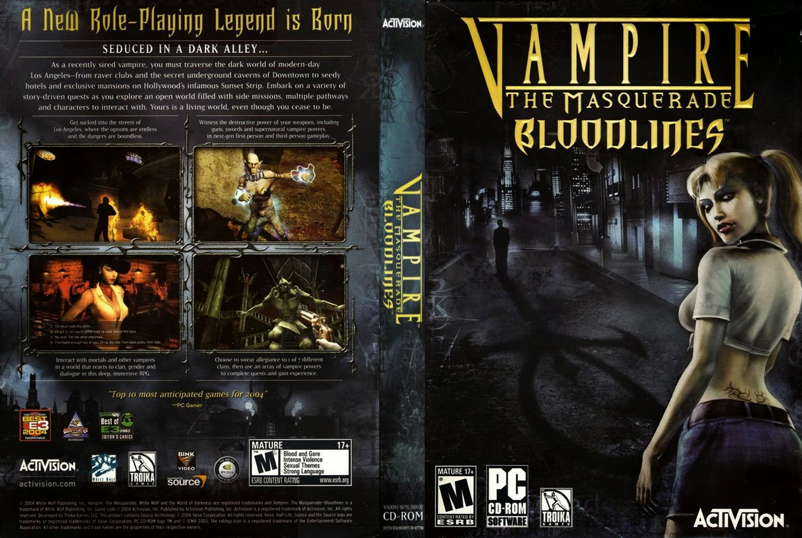 Vampire The Masquerade Bloodlines PC DVD Capa