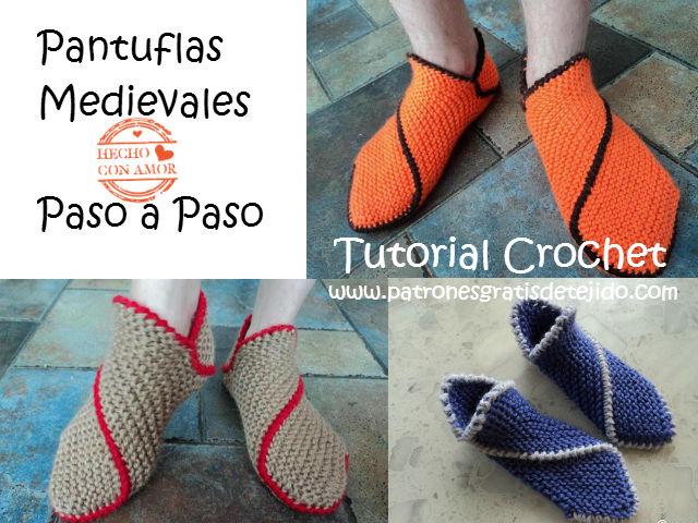 CURSO DOS AGUJAS ONLINE GRATIS: Pantuflas Medievales | Crochet y Dos ...