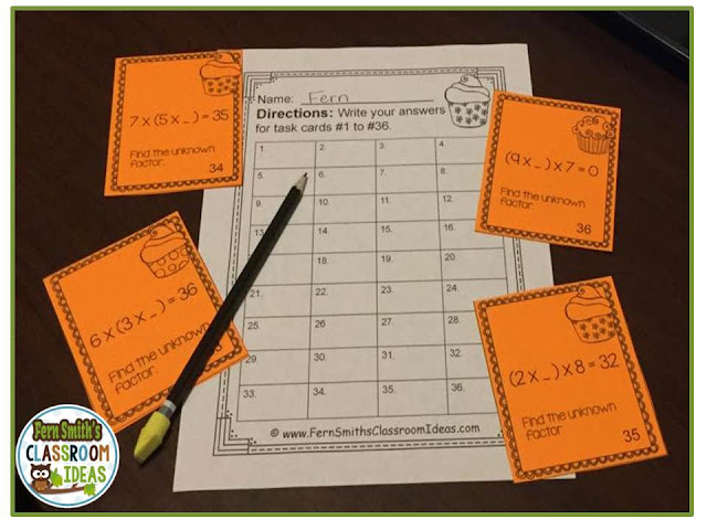 Fern Smith's Classroom Ideas Associative Property of Multiplication Task Cards with a cute cupcake and child theme at TeacherspayTeachers.