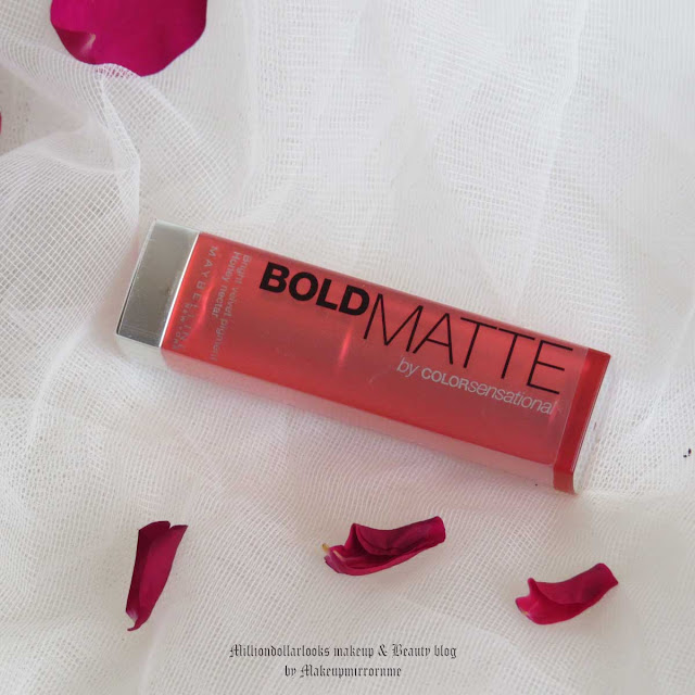 Maybelline Color Sensational Bold Matte MAT2 Review, Swatch, FOTD & Price, Maybelline bold matte swatches, Indian makeup blog, Indian beauty blogger, Indian makeup and beauty blog, Coral pink lipsticks, Best lipsticks for summers, MAT1, MAT2, MAT3, MAT4, MAT5